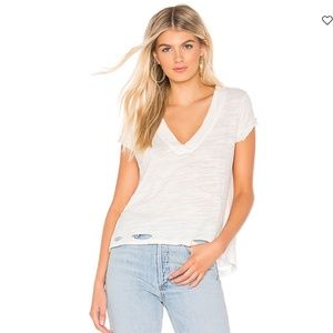 Free People Distressed White V-neck Tee XS
